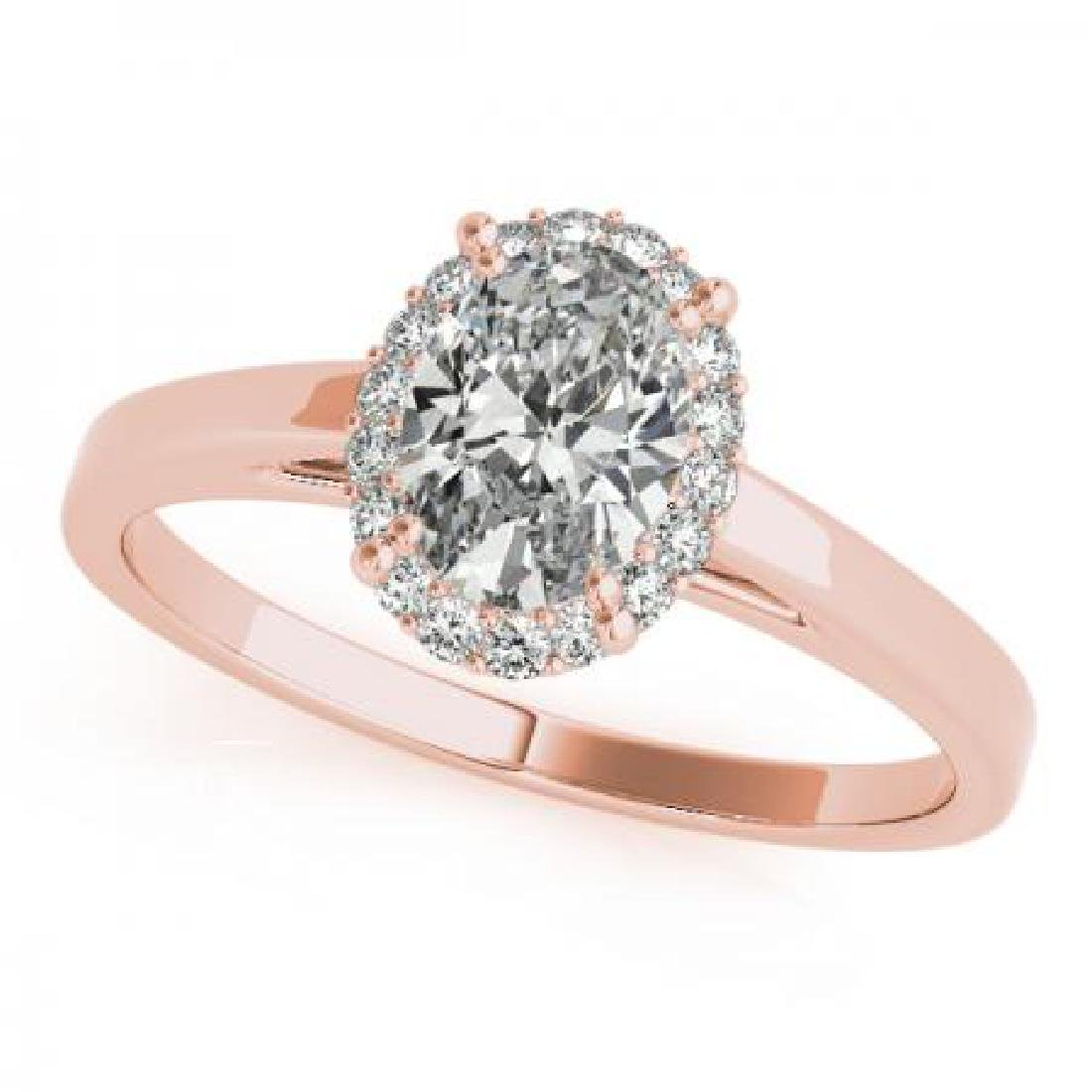 CERTIFIED 14KT ROSE GOLD .95 CT G-H/VS-SI1 DIAMOND HALO