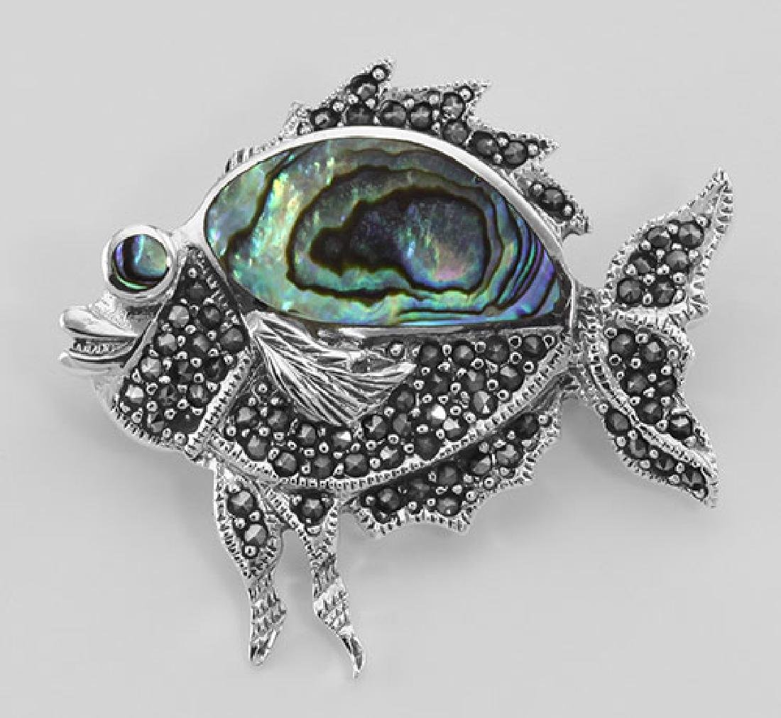 Cute Abalone Shell and Marcasite Fish Pin / Brooch - St