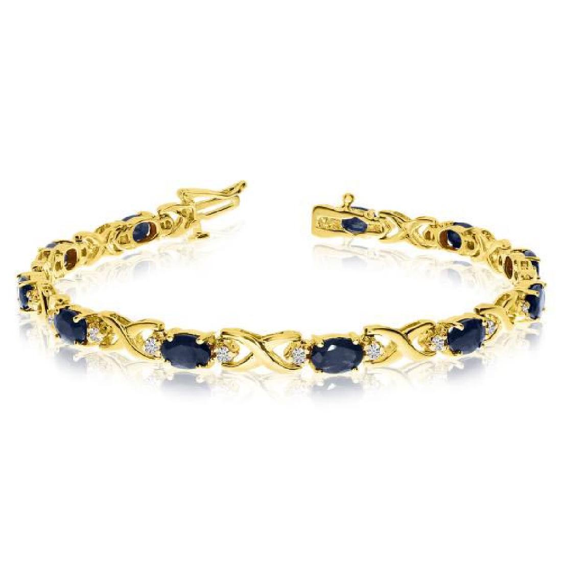 Oval Sapphire and Diamond XOXO Link Bracelet 14k Yellow