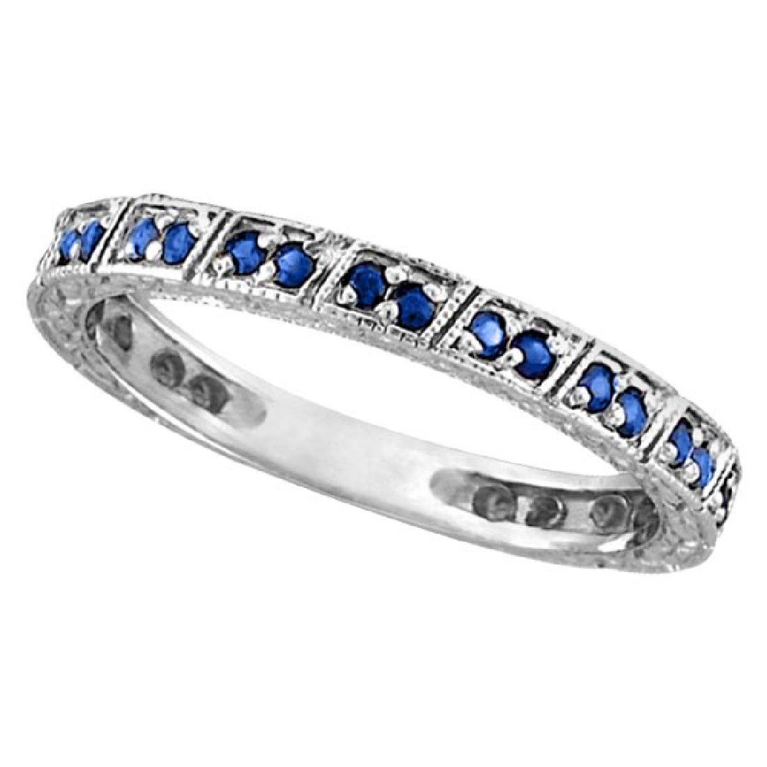 Blue Sapphire Stackable Anniversary Band in 14k White G