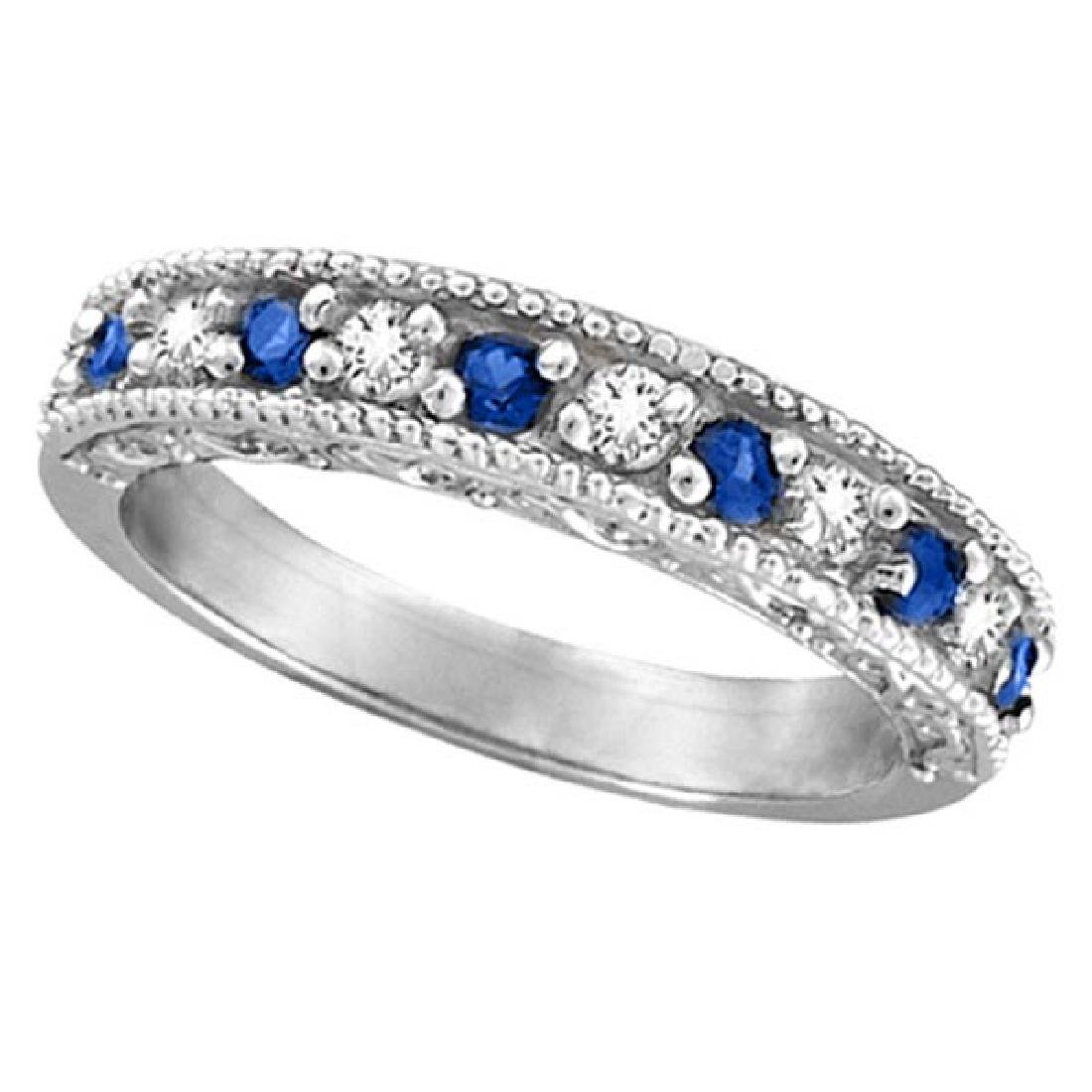 Blue Sapphire and Diamond Ring Anniversary Band 14k Whi