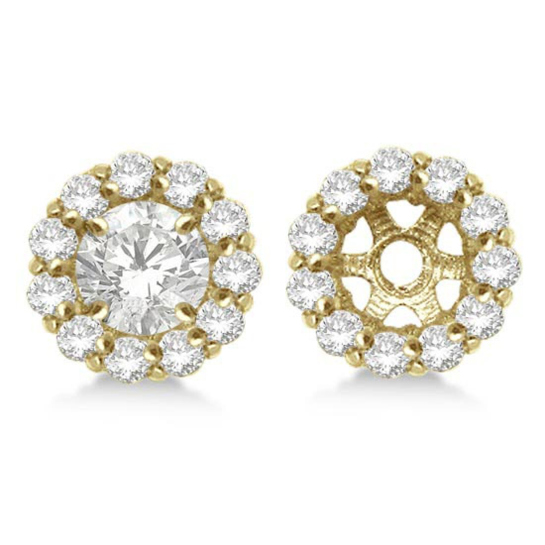 Round Diamond Earring Jackets for 7mm Studs 14K Yellow