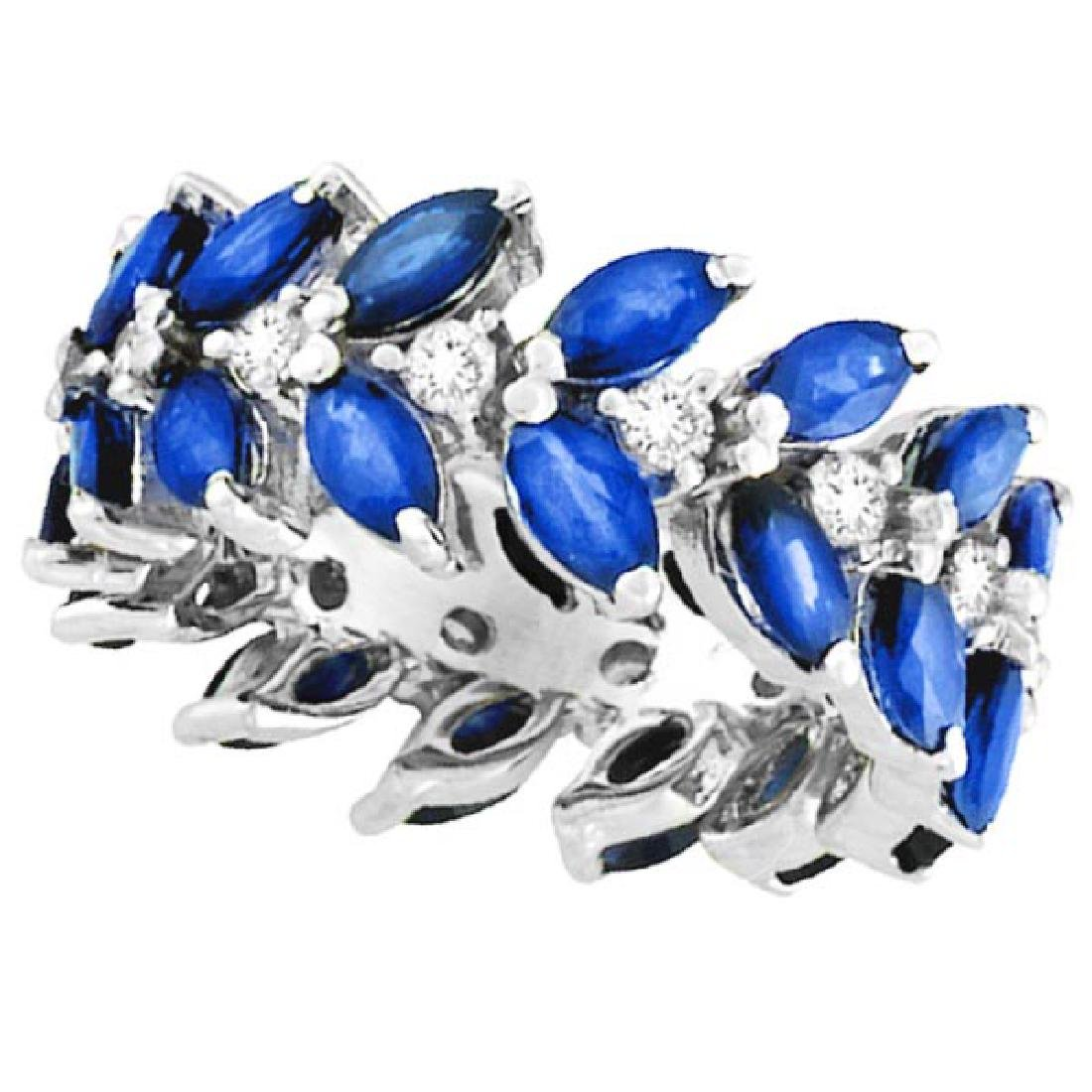 Marquise Sapphire and Diamond Eternity Ring 14k White G