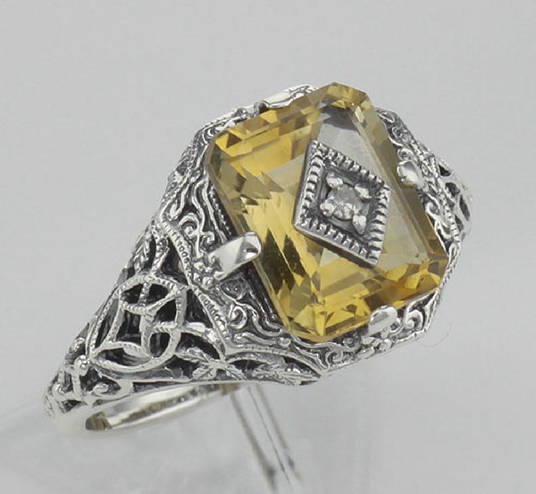 Antique Victorian Style Golden Citrine Filigree Diamond