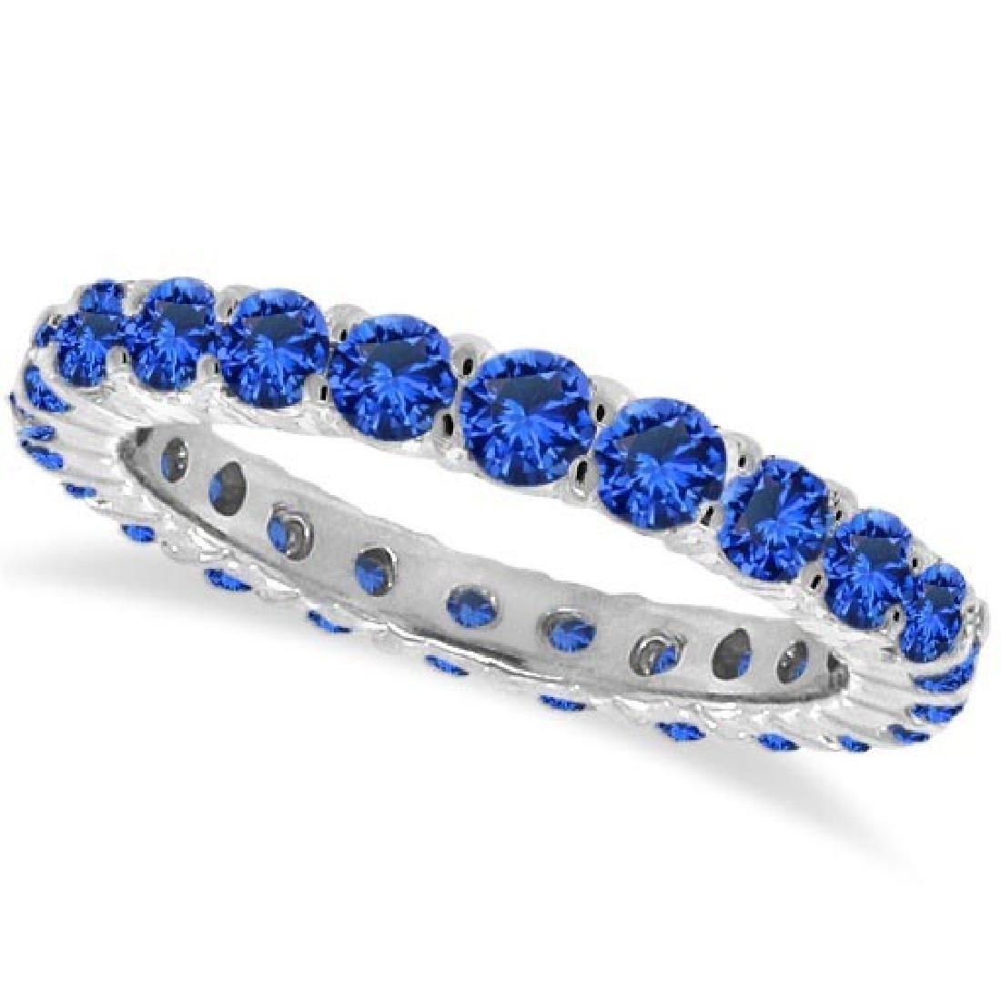 Blue Sapphire Eternity Ring Anniversary Band 14k White