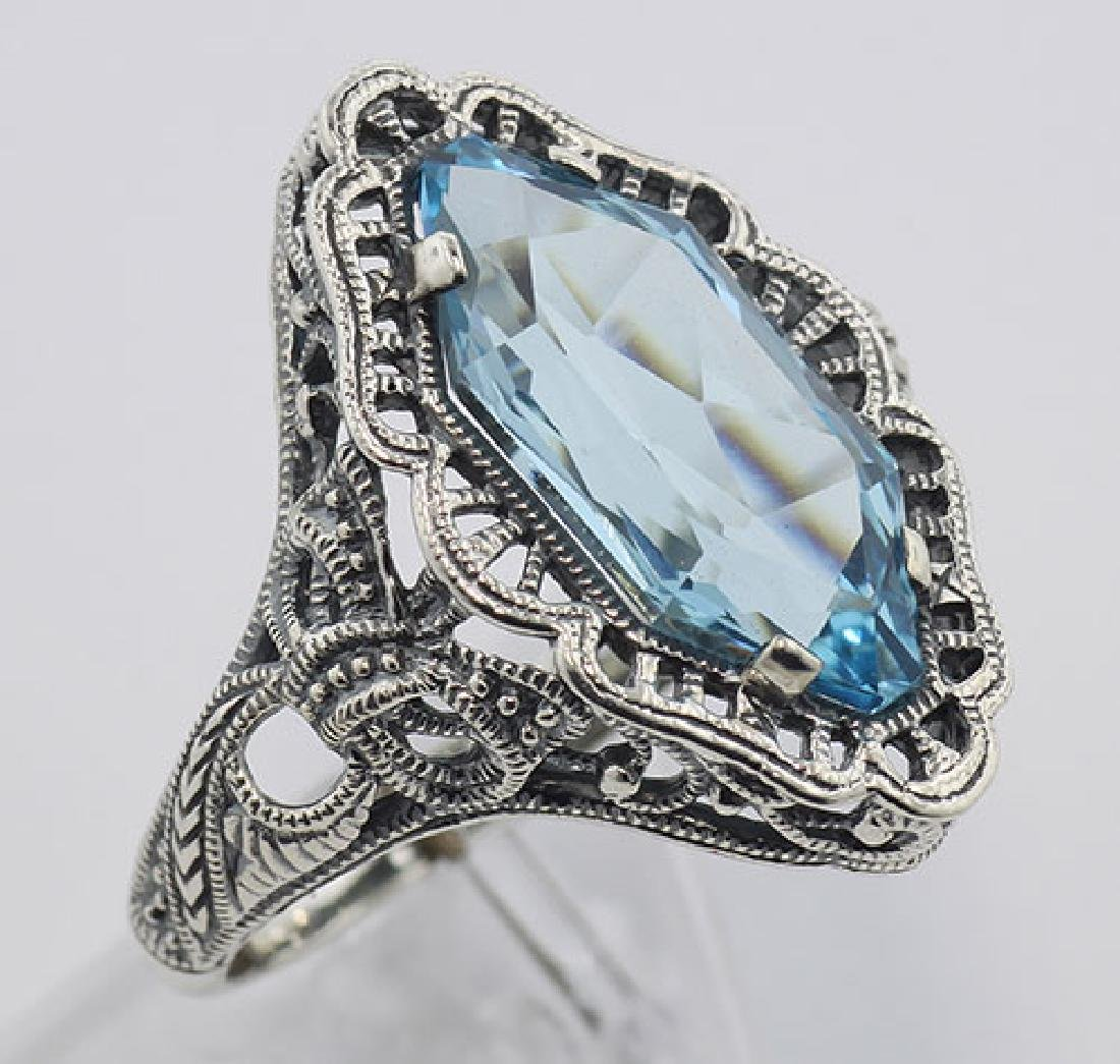 Art Deco Style 4 Carat Blue Topaz Filigree Ring - Sterl
