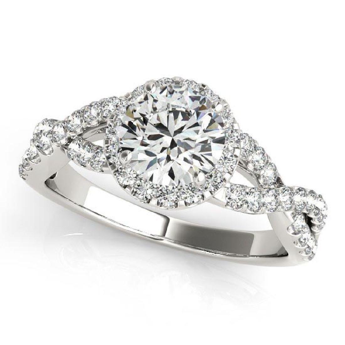 Diamond Infinity Twisted Halo Engagement Ring 14k White
