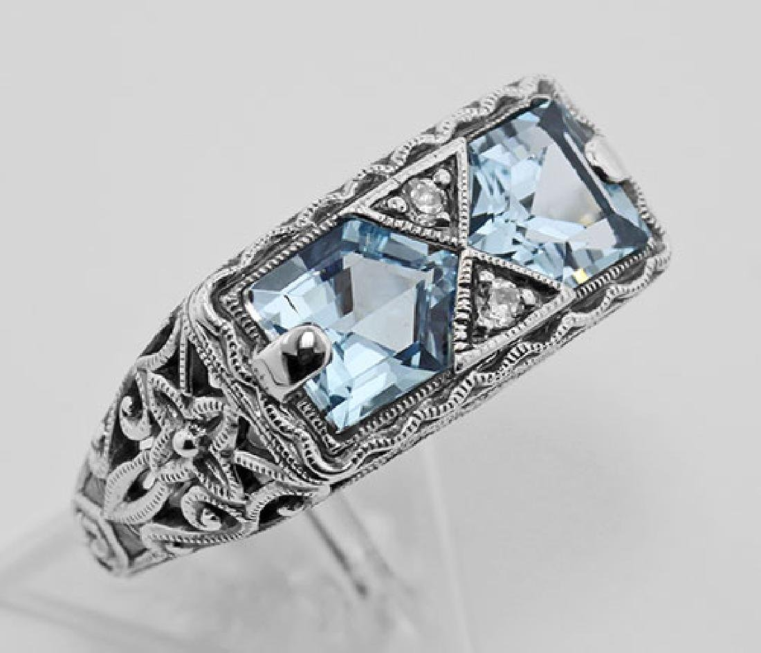 Antique Style 2 Stone Blue Topaz Filigree Ring Sterling