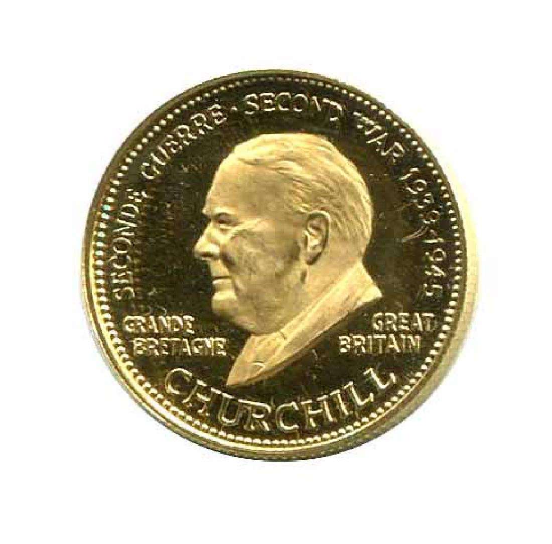 WWII Commemorative Proof Gold Medal 7g. 1958 Churchill