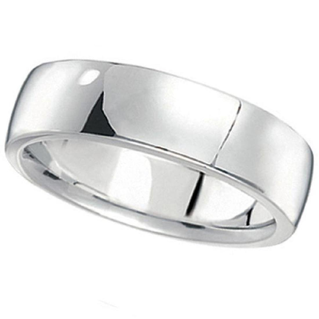 Mens Wedding Ring Low Dome Comfort-Fit in 14k White Go