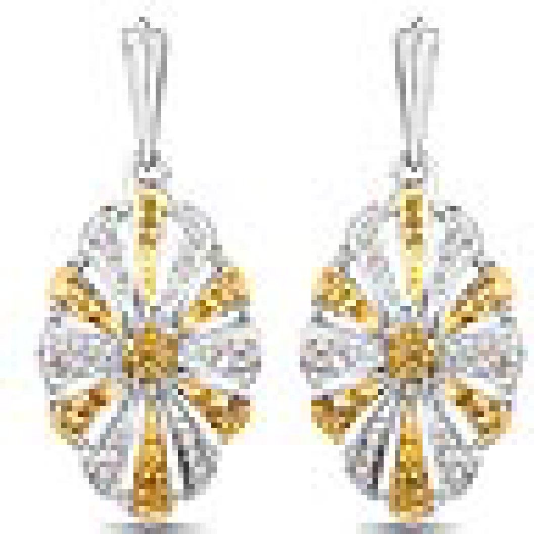 0.54 Carat Genuine White Diamond and Yellow Diamond .92