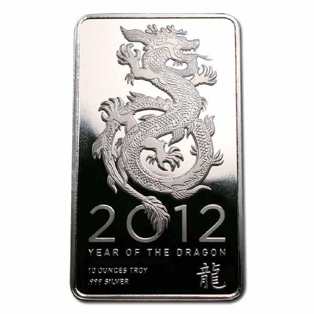 NTR Metals Silver Bar 10 oz - 2012 Dragon Design