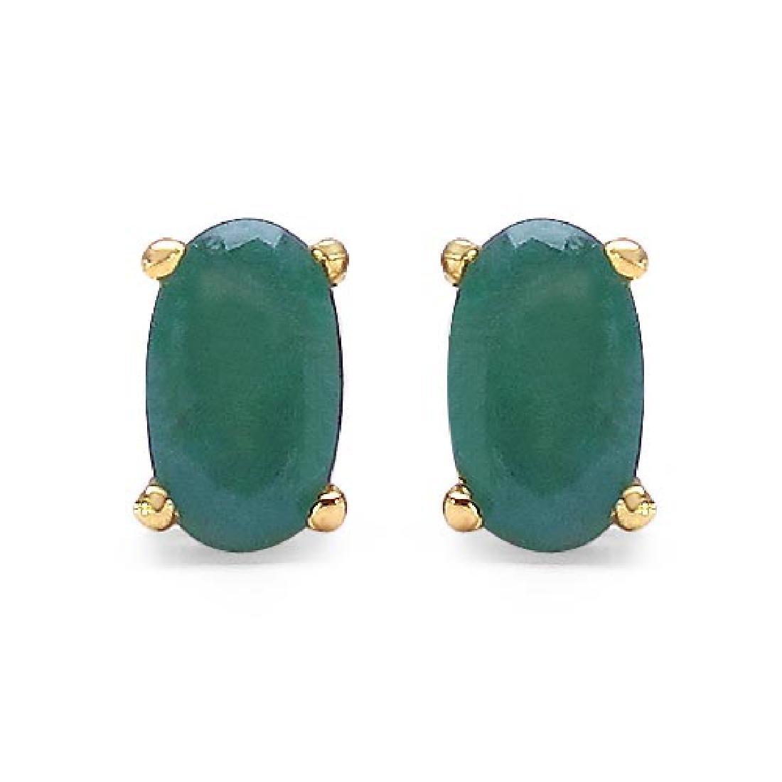 0.54 Carat Genuine Emerald 10K Yellow Gold Earrings
