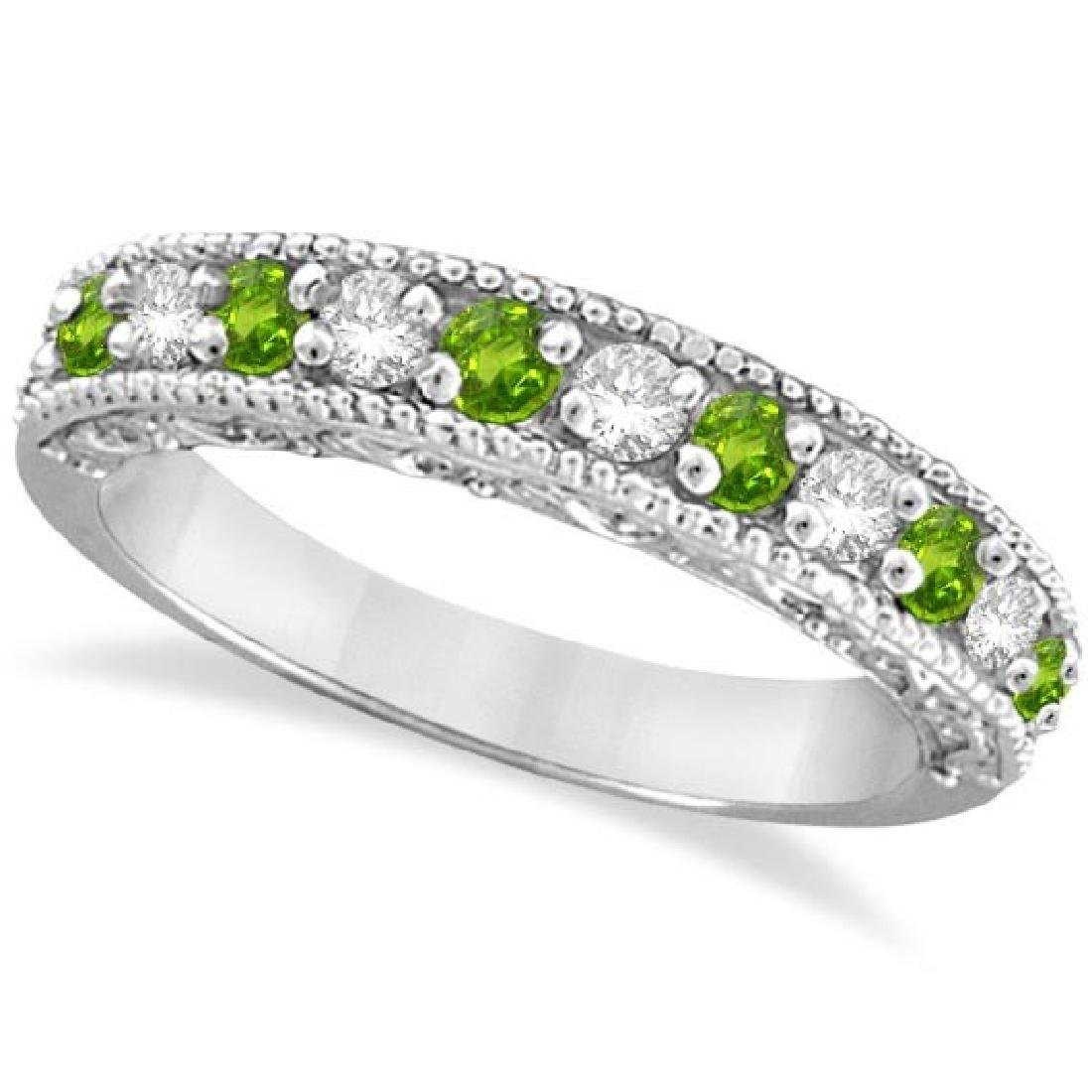 Diamond and Peridot Band Filigree Design Ring 14k White