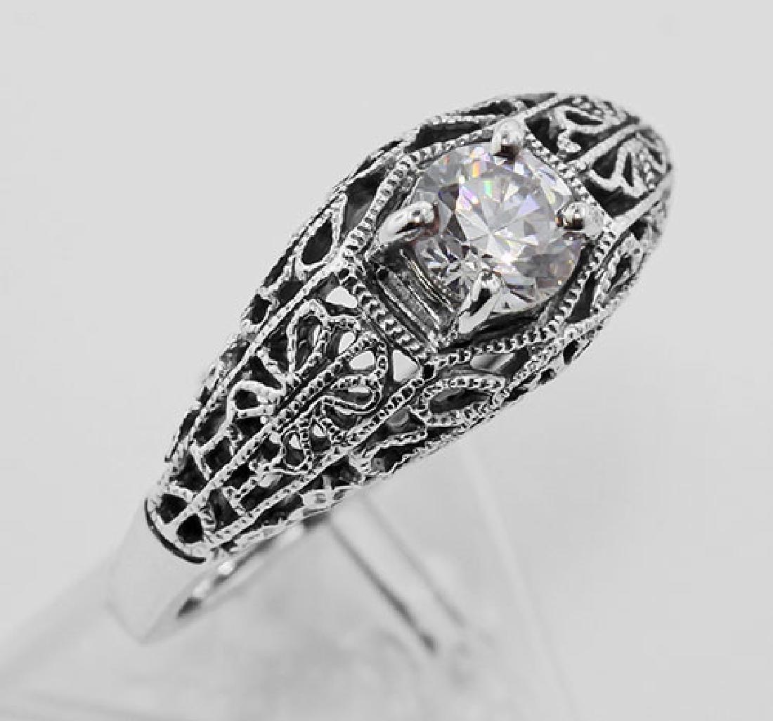 Cubic Zirconia Filigree Ring - Sterling Silver
