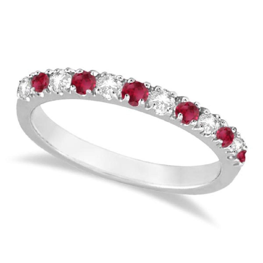 Diamond and Ruby Ring Guard Anniversary Band 14K White