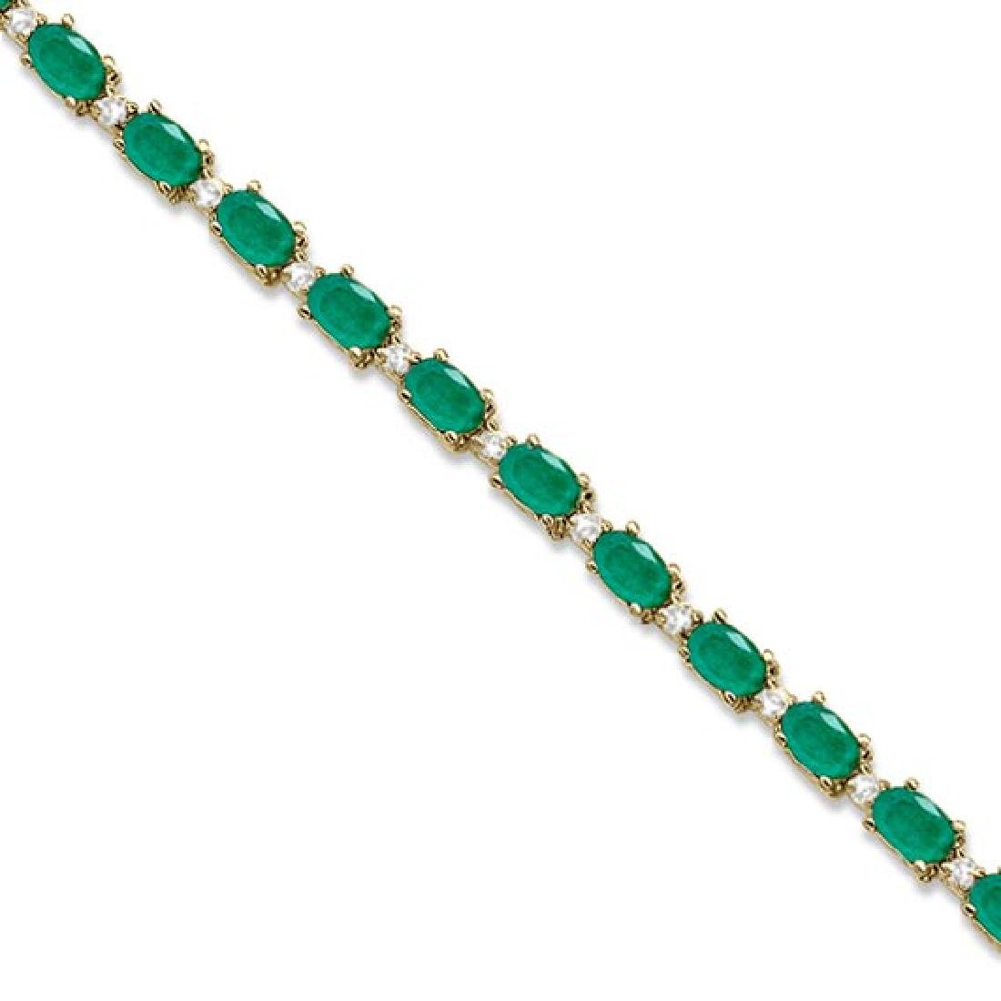 Emerald and Diamond Tennis Bracelet 14k Yellow Gold (12