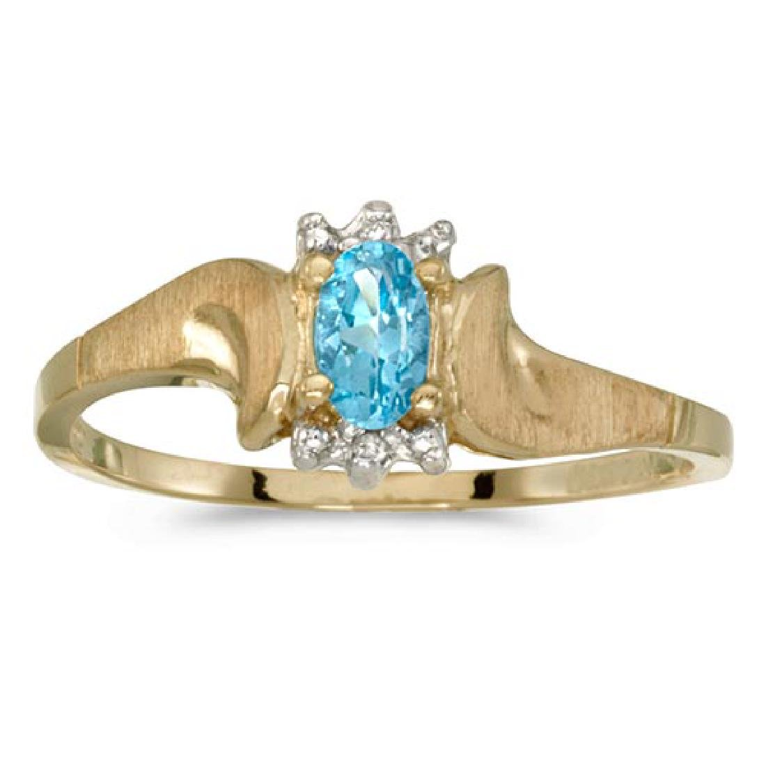 Certified 10k Yellow Gold Oval Blue Topaz And Diamond S