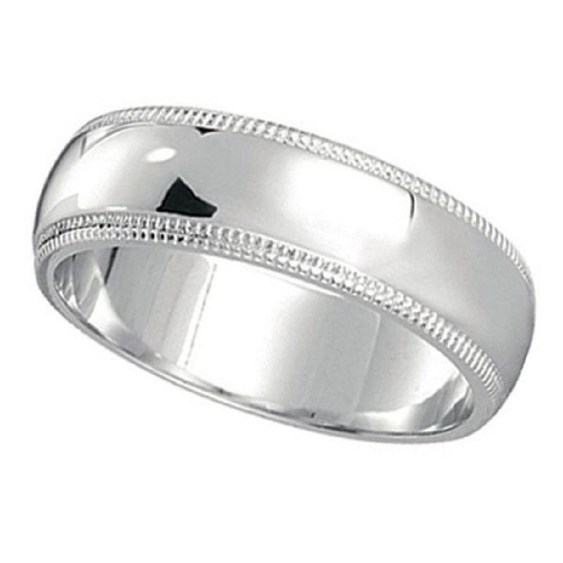 Mens Wedding Band Dome Comfort-Fit Milgrain 950 Platin