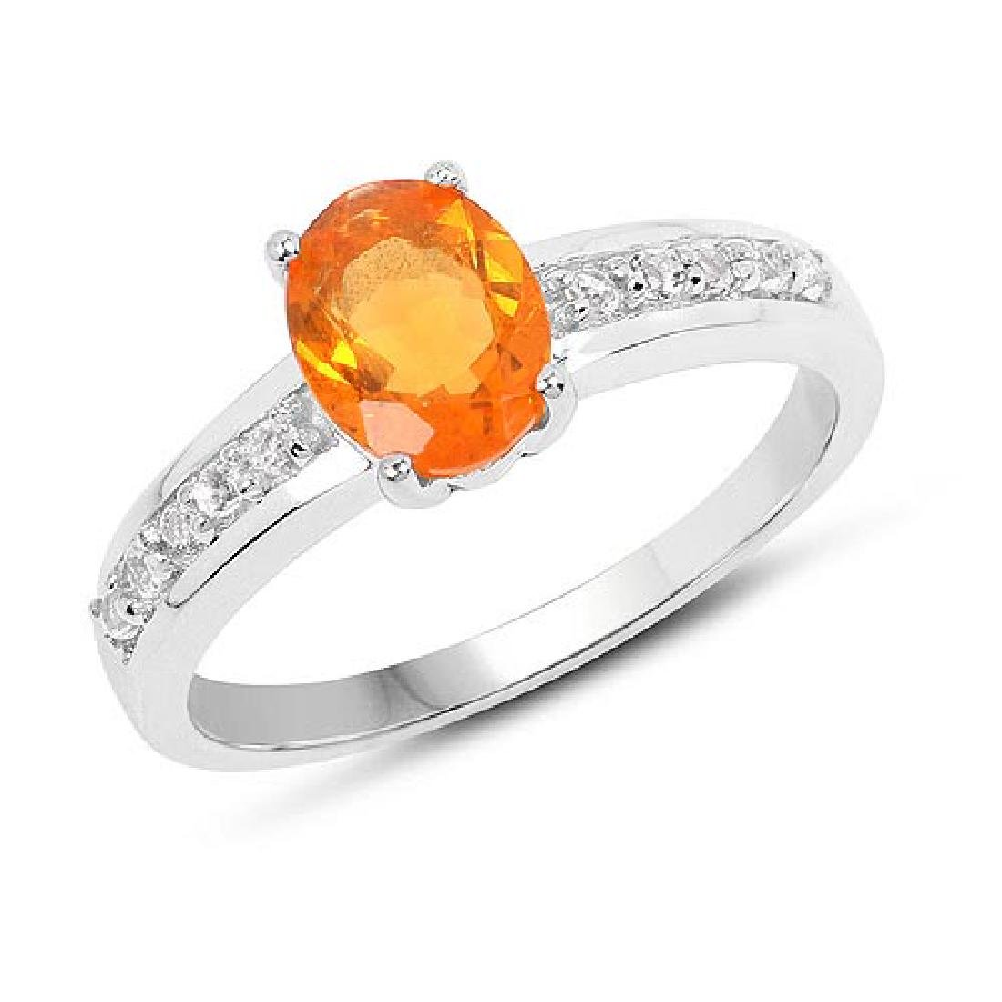 0.80 Carat Genuine Fire Opal and White Topaz .925 Sterl