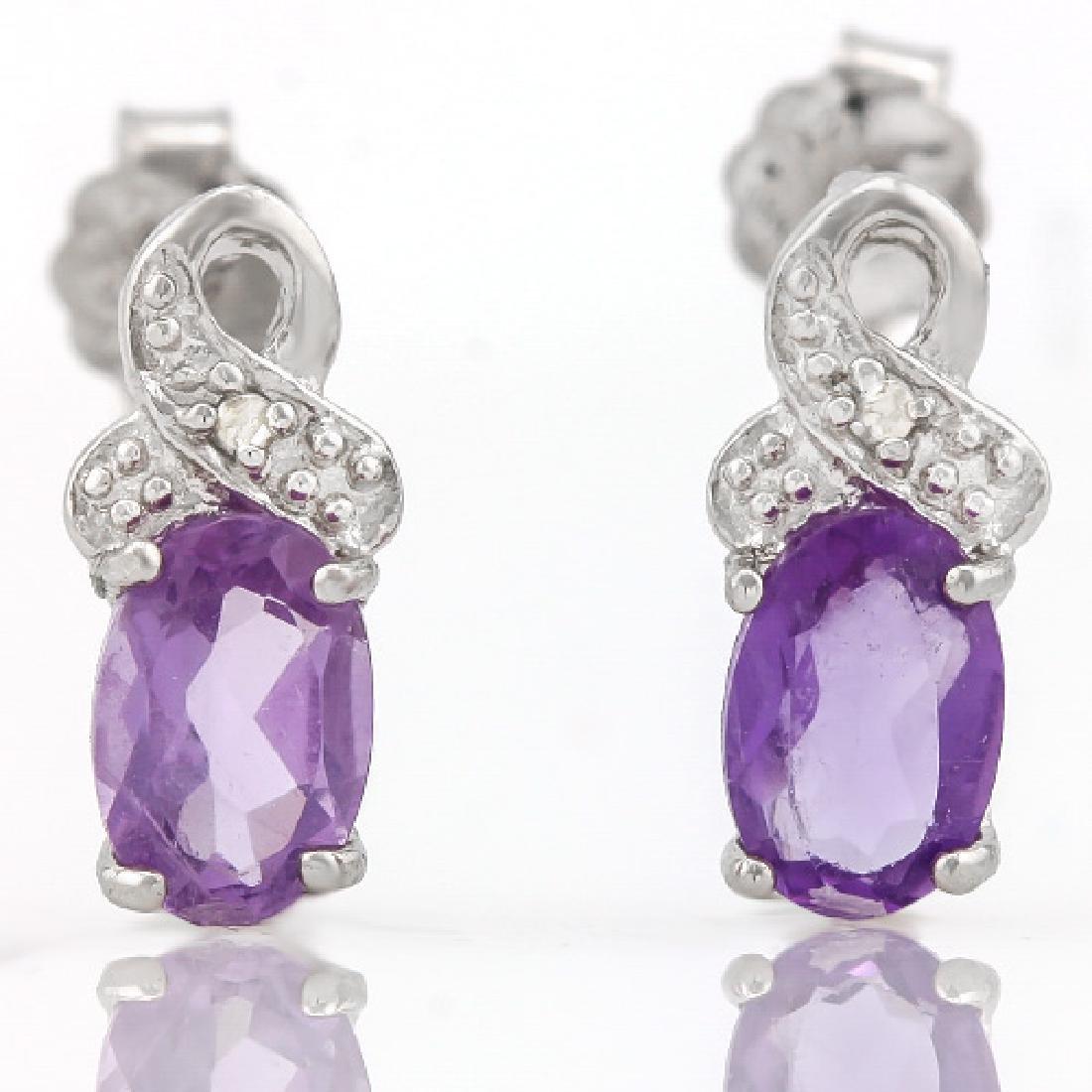 1/3 CARAT AMETHYST & DIAMOND 925 STERLING SILVER EARRIN