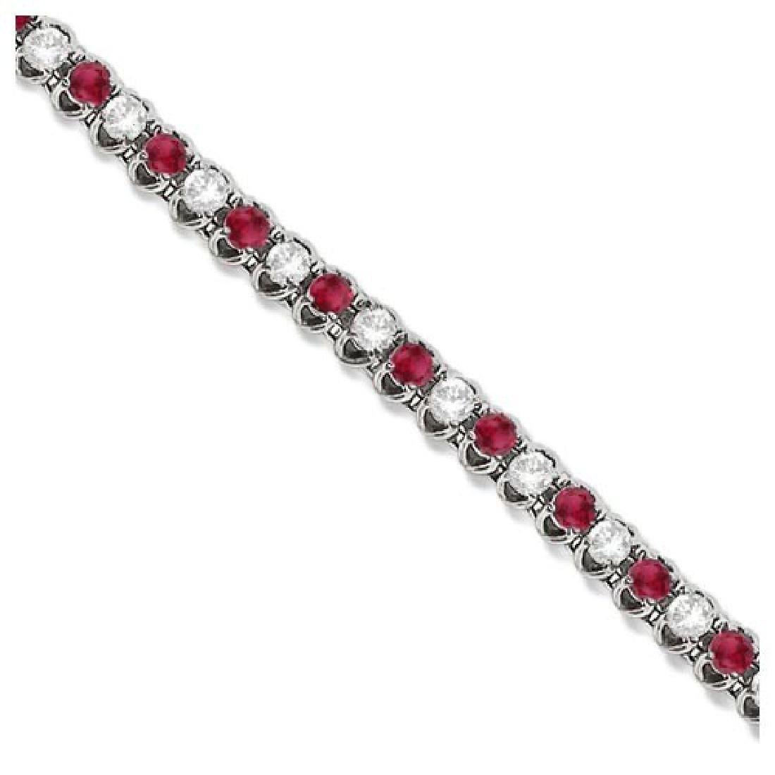 Round Ruby and Diamond Tennis Bracelet 14k White Gold (