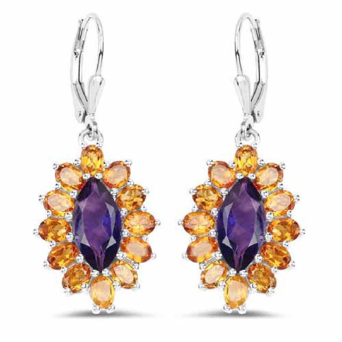6.54 Carat Genuine Amethyst and Citrine .925 Sterling S