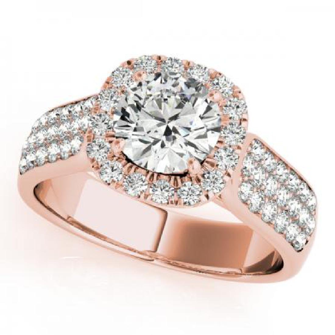 CERTIFIED 18K ROSE GOLD 1.40 CT G-H/VS-SI1 DIAMOND HALO
