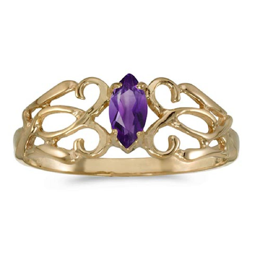 Certified 10k Yellow Gold Marquise Amethyst Filagree Ri