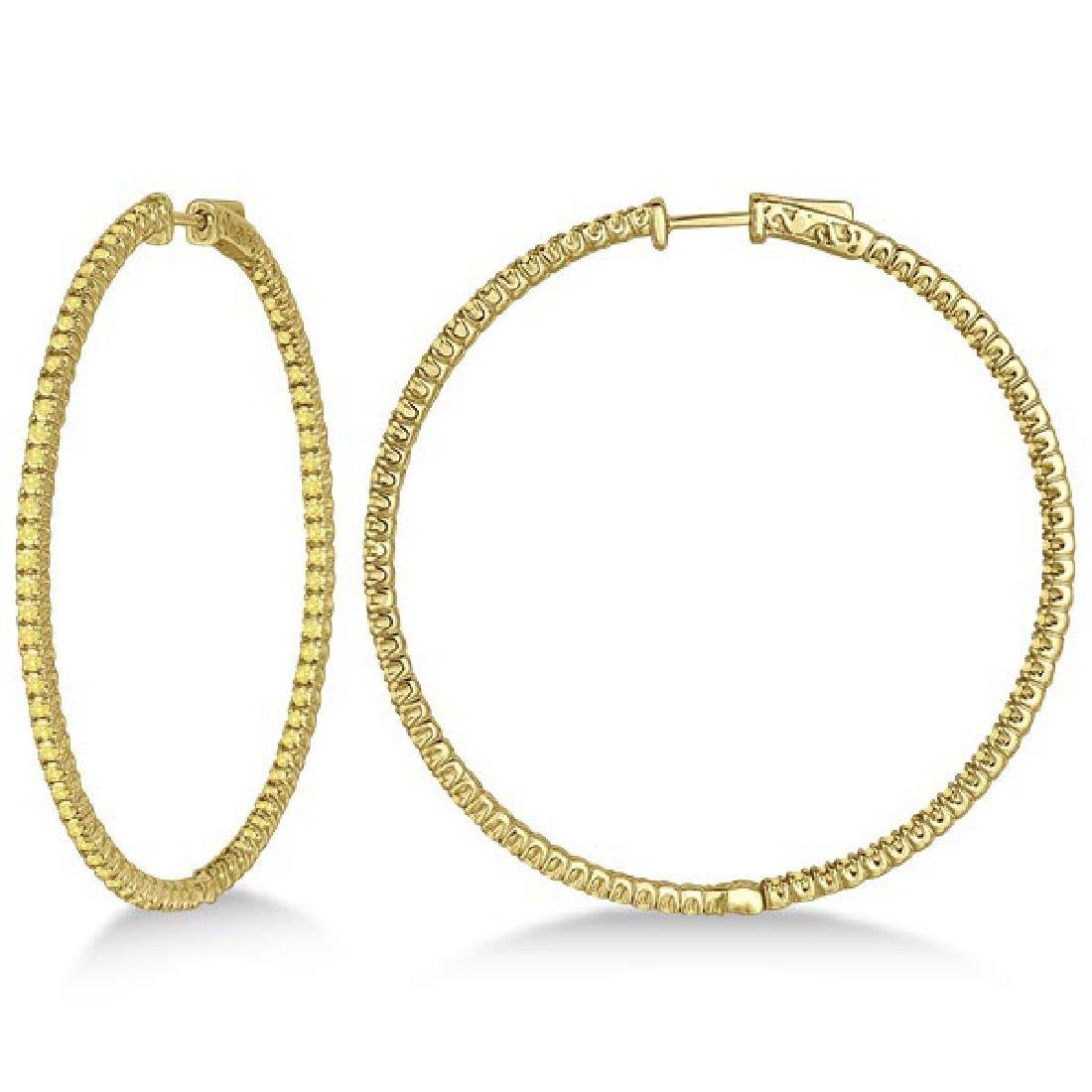 X-Large Yellow Canary Diamond Hoop Earrings 14k Yellow