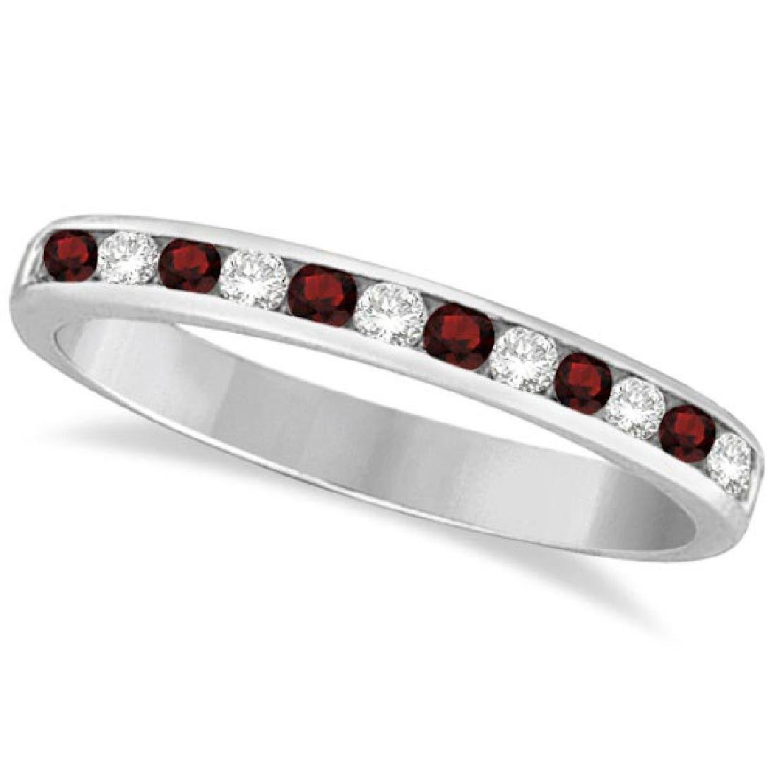 Garnet and Diamond Semi-Eternity Channel Ring 14k White