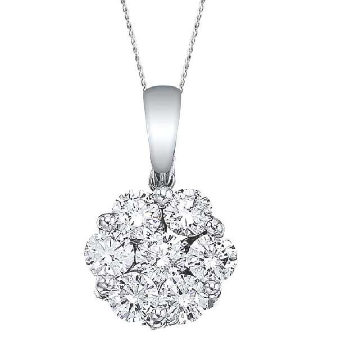 Diamond Cluster Flower Pendant Necklace in 14k White Go