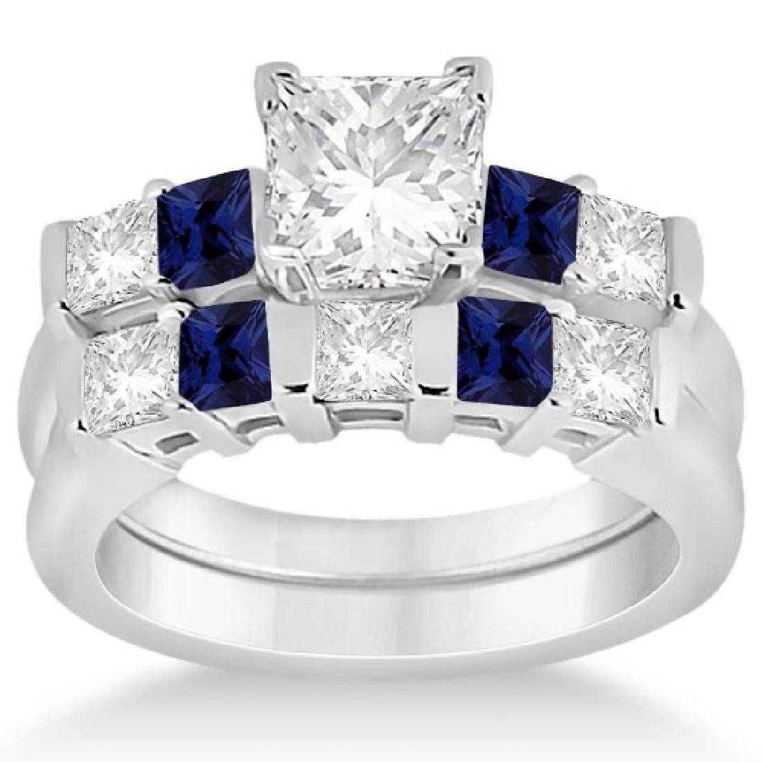 5 Stone Diamond and Blue Sapphire Bridal Set 14K White