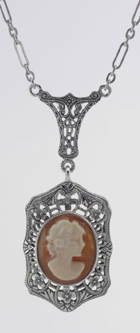 Hand Carved Italian Shell Cameo Filigree Necklace - Ste