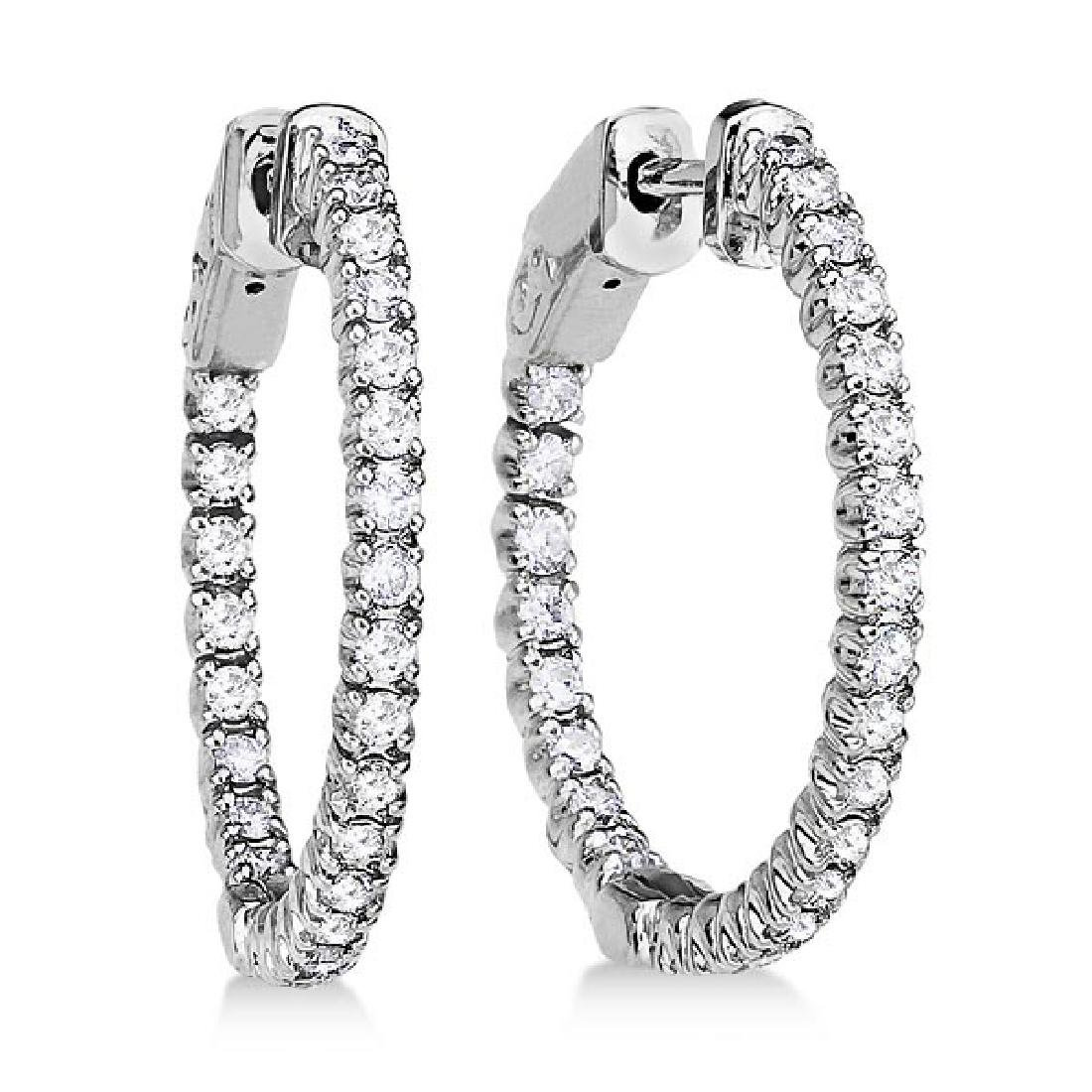 Prong-Set Diamond Hoop Earrings in 14k White Gold (1.00