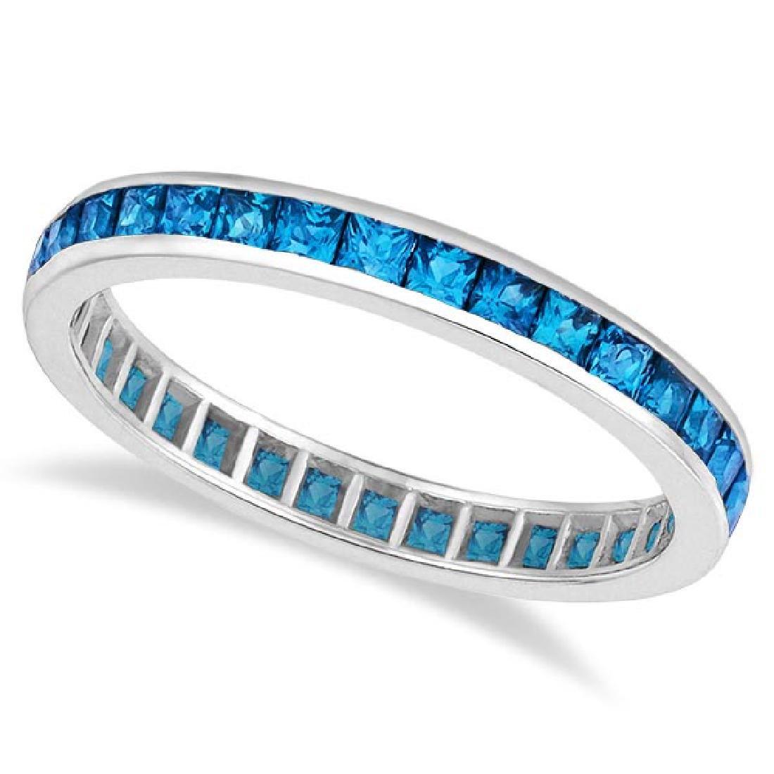 Princess-Cut Blue Topaz Eternity Ring Band 14k White Go