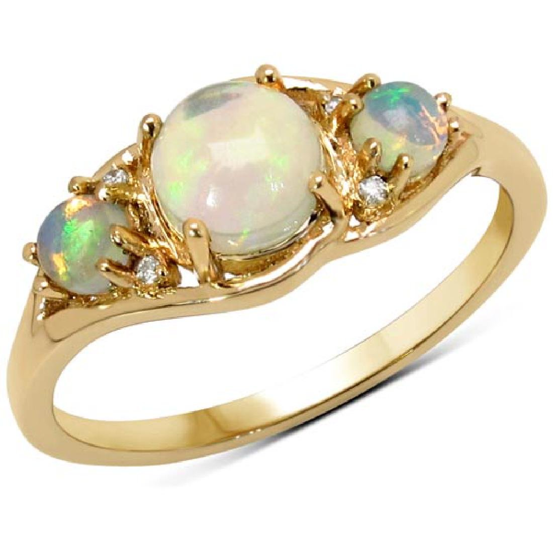 0.68 Carat Genuine Ethiopian Opal and White Diamond 14K