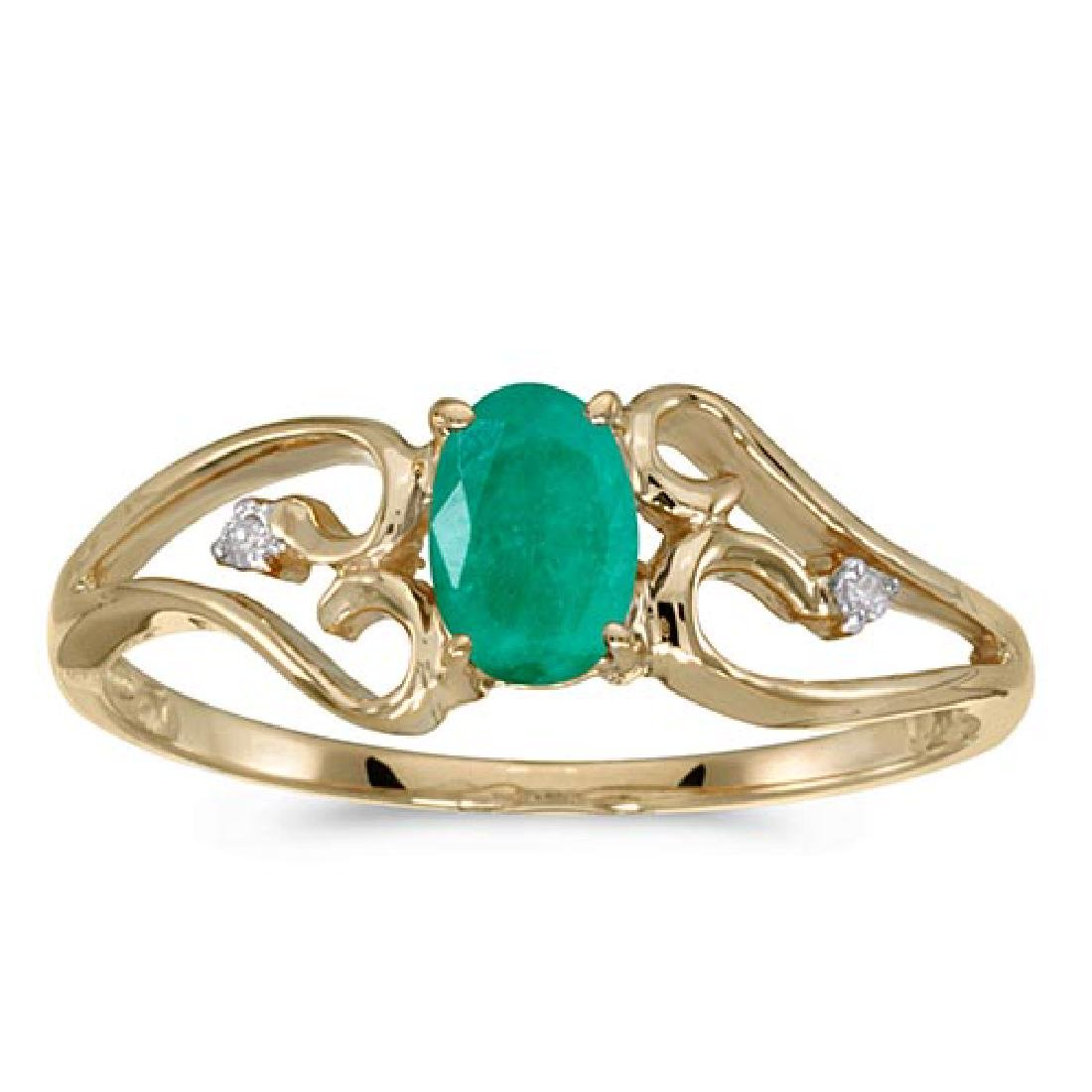 Certified 10k Yellow Gold Oval Emerald And Diamond Ring