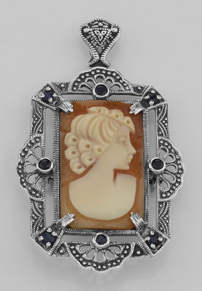 Lovely Italian Shell Cameo Pin or Pendant with Blue Sap