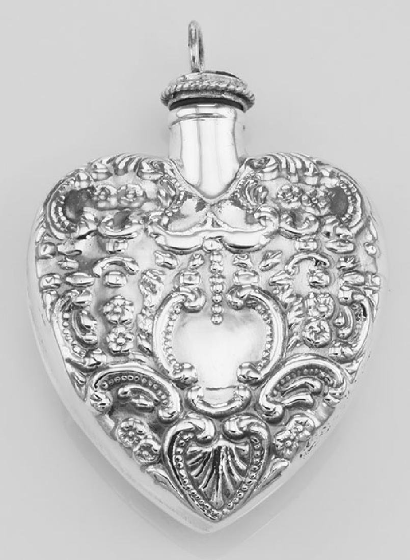 Large Antique Style Heart Perfume Bottle Pendant - Ster