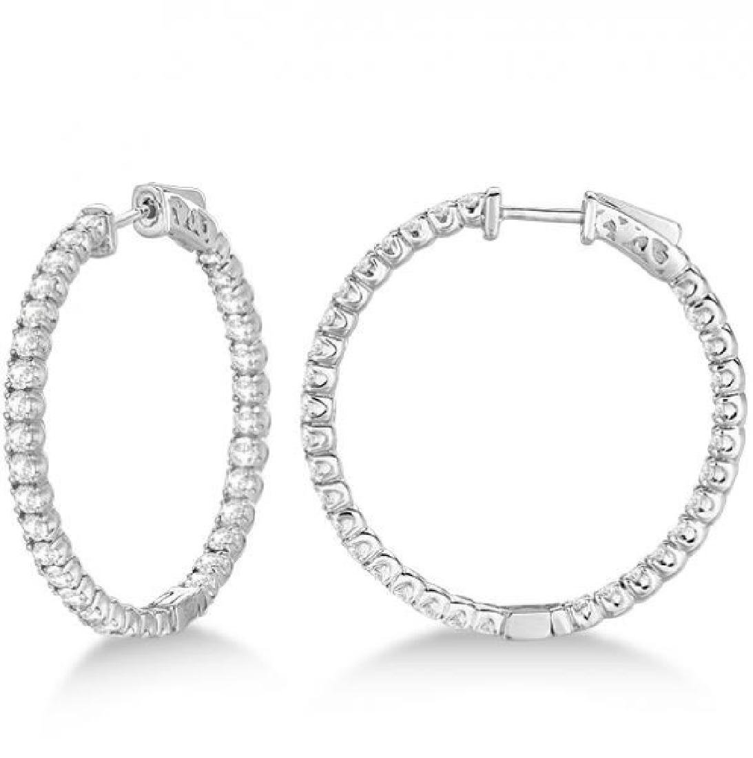 Large Round Diamond Hoop Earrings 14k White Gold (3.25c