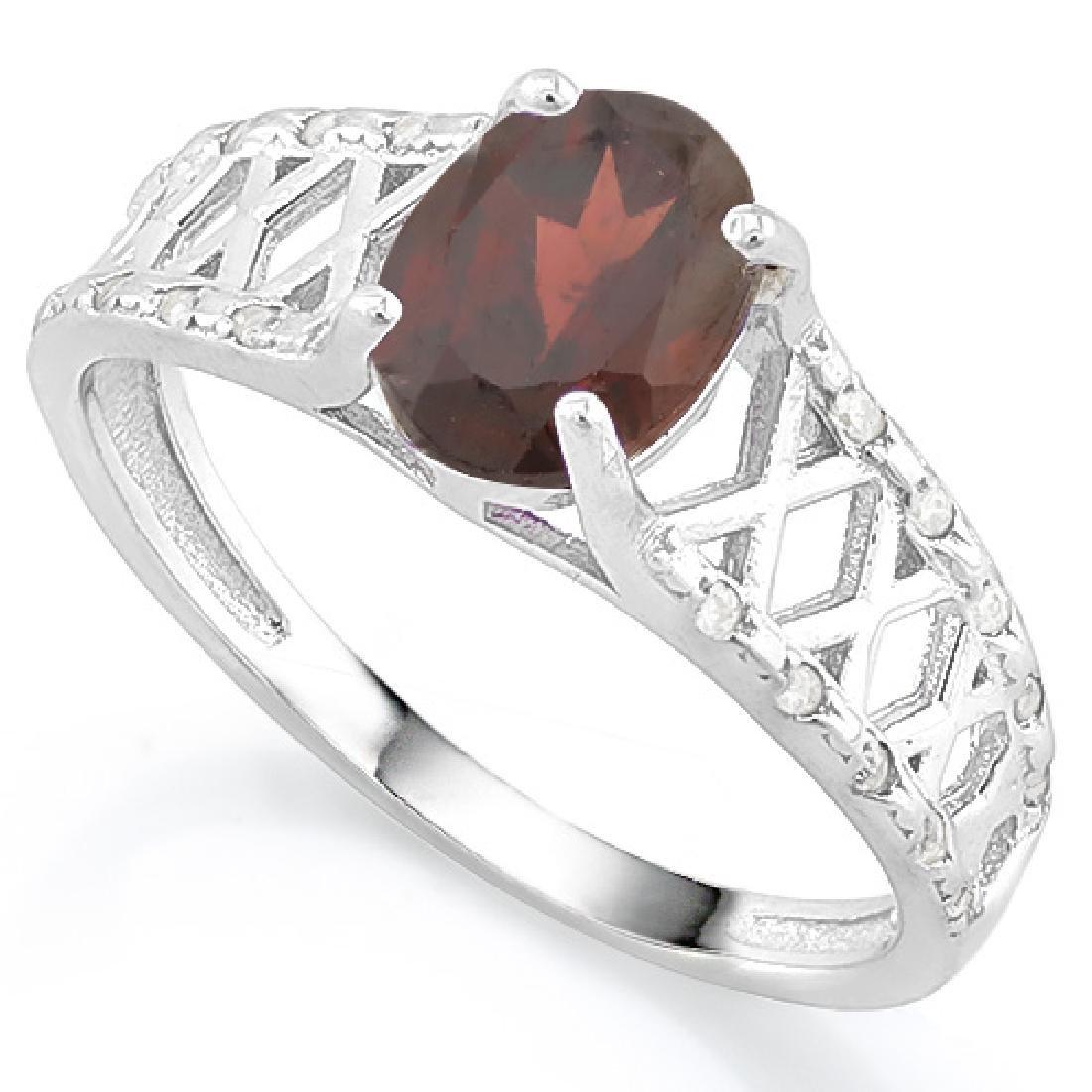1 2/5 CARAT GARNET & (20 PCS) FLAWLESS CREATED DIAMOND