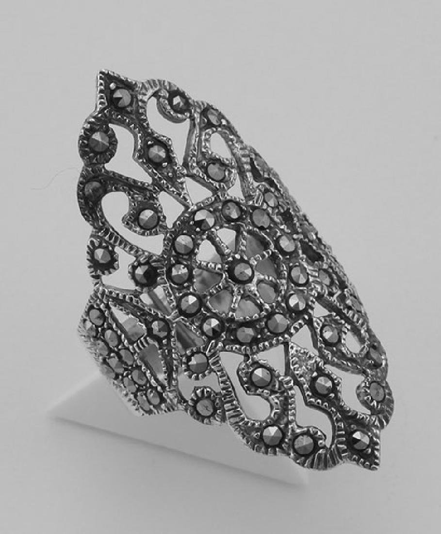 Marcasite Ring - Filigree Design - Sterling Silver