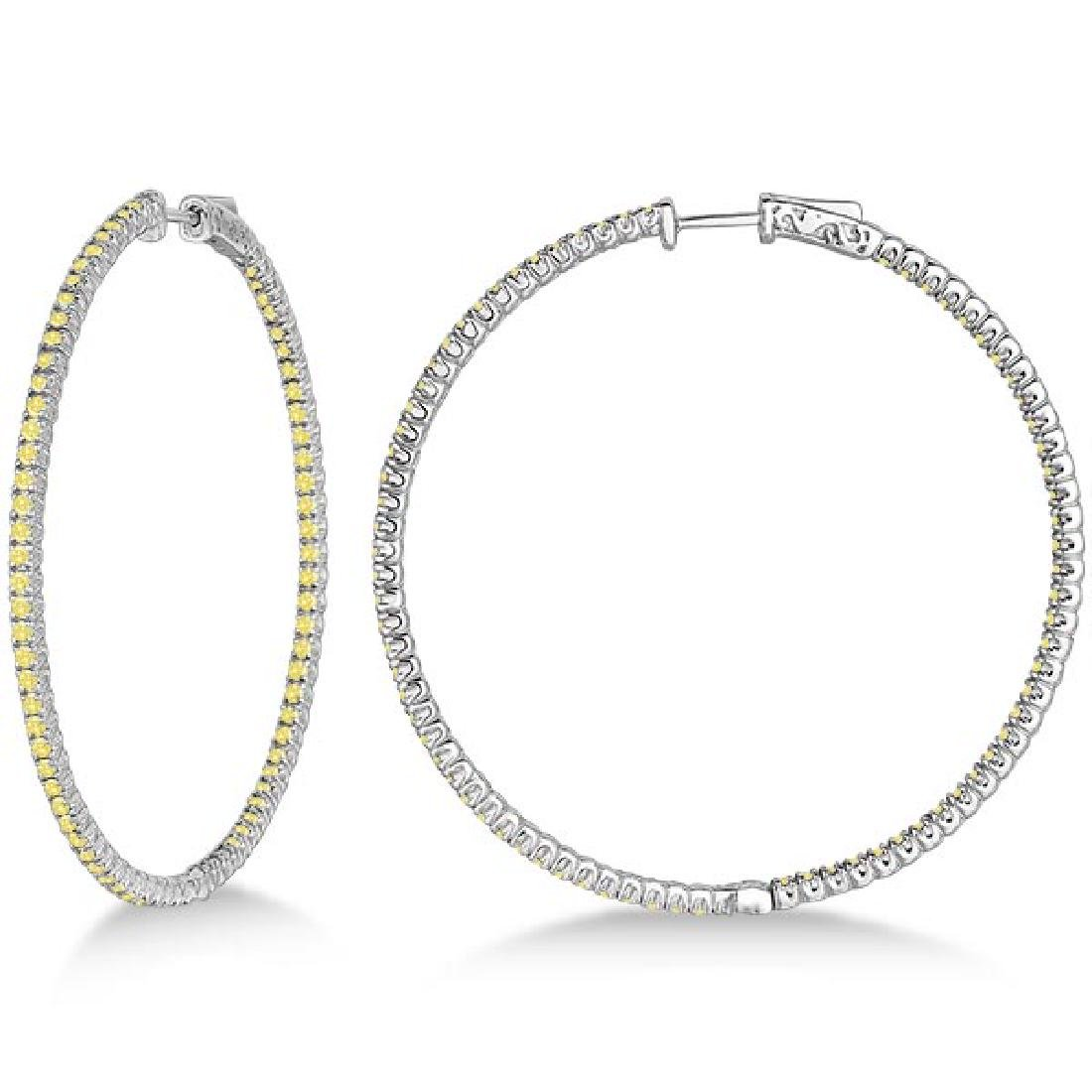 X-Large Yellow Canary Diamond Hoop Earrings 14k White G