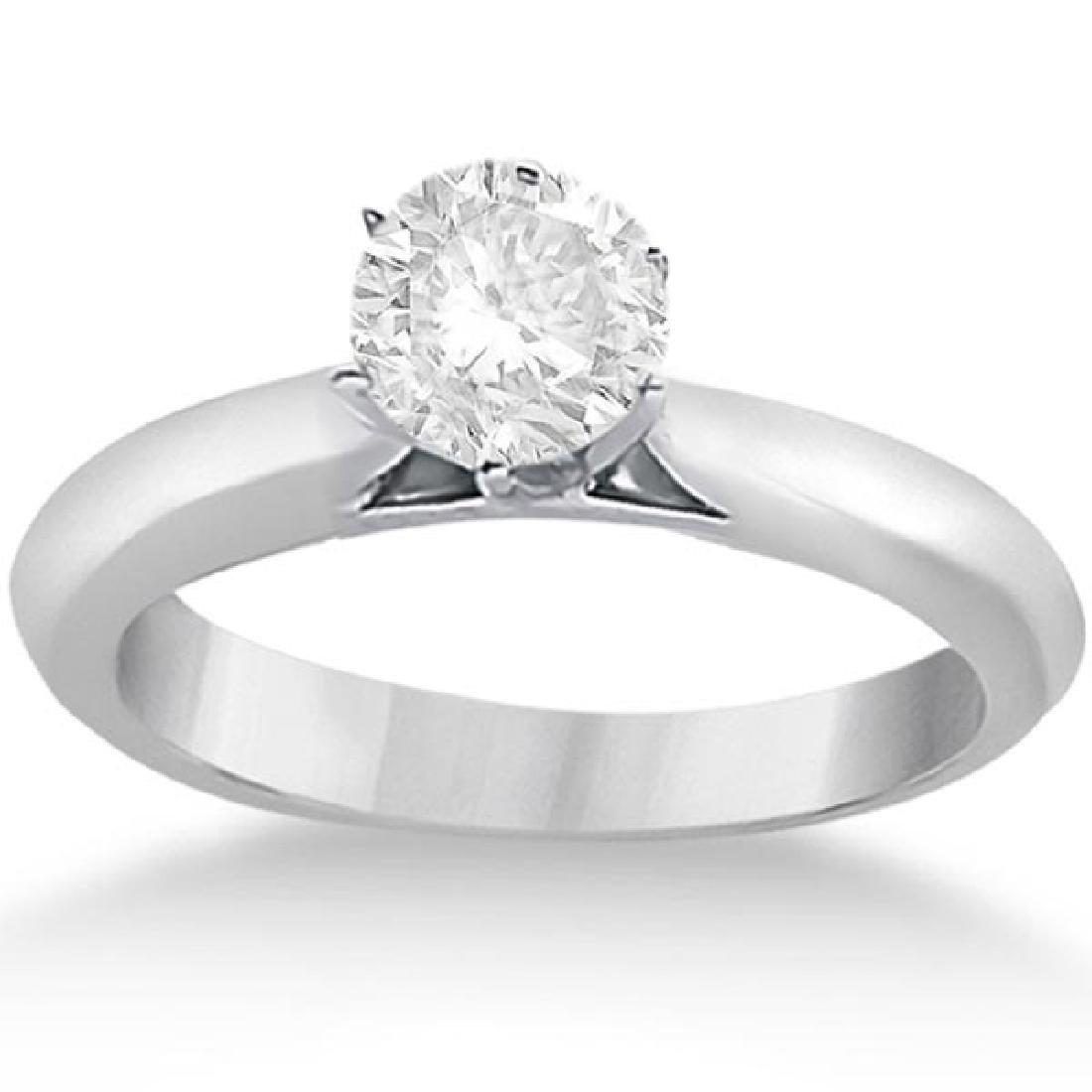 Six-Prong 14k White Gold Solitaire Engagement Ring Sett