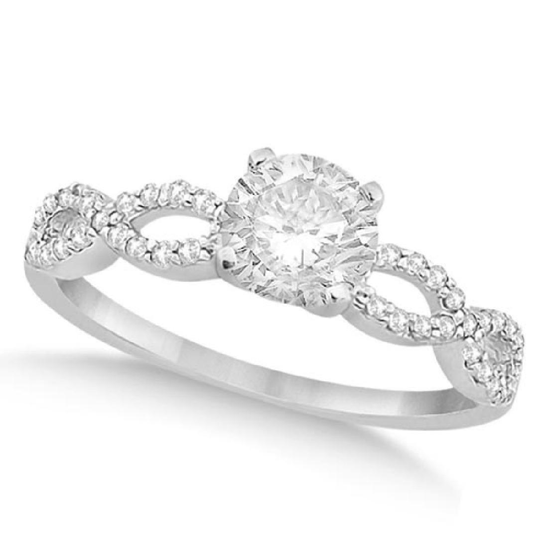 Twisted Infinity Round Diamond Engagement Ring 14k Whit