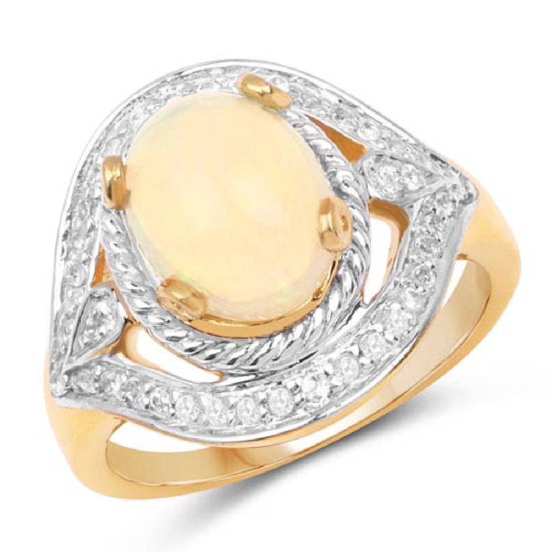 14K Yellow Gold Plated 1.88 Carat Genuine Ethiopian Opa