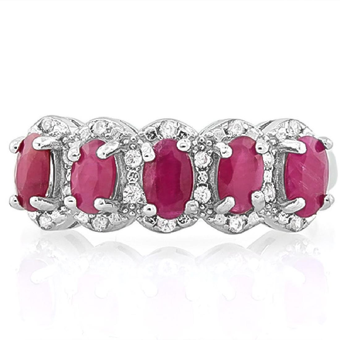 8 1/5 CARAT RUBY & DIAMOND 925 STERLING SILVER RING
