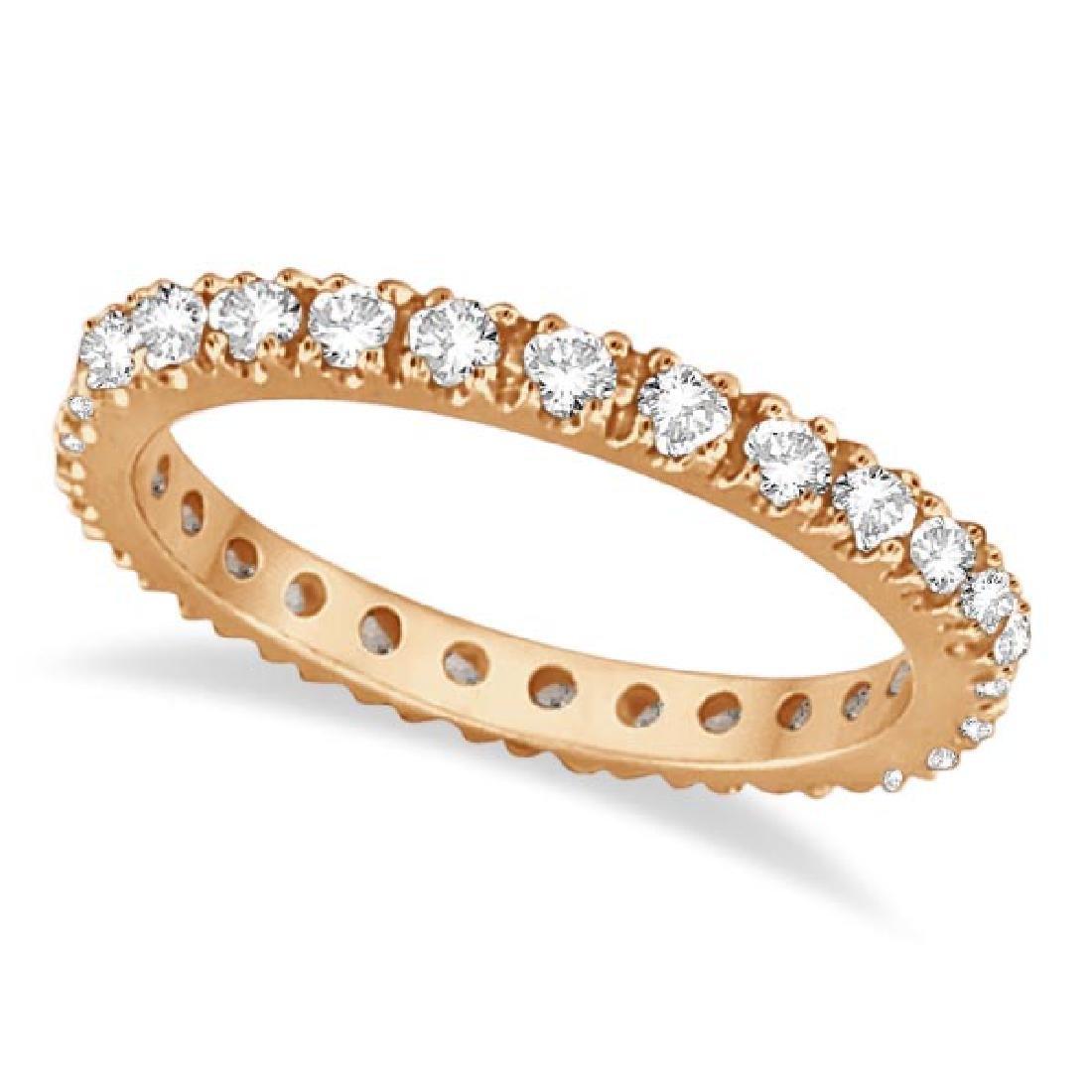 Diamond Eternity Stackable Ring Wedding Band 14K Rose G