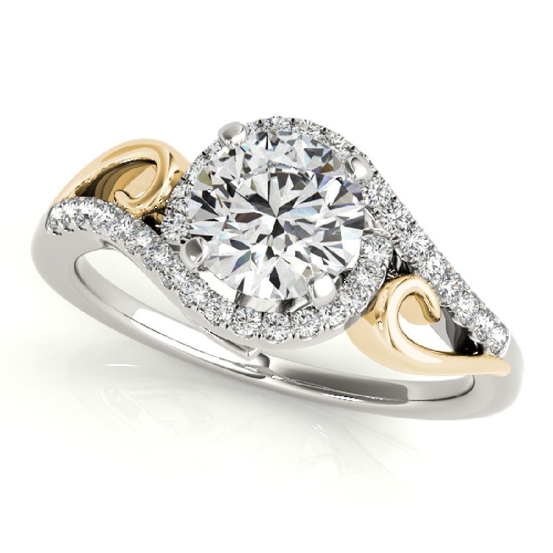 CERTIFIED TWO TONE GOLD 1.00 CT G-H/VS-SI1 DIAMOND HALO